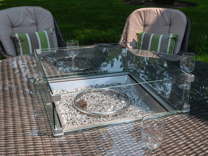 wicker fire pits table